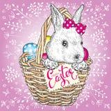 Coniglietto sveglio sveglio in un canestro con le uova di Pasqua Illustrazione di vettore Festa della primavera Immagini Stock Libere da Diritti