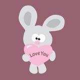 Coniglietto timido del biglietto di S. Valentino Fotografia Stock