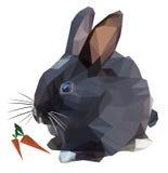 Coniglio in bianco e nero decorativo con una carota su un fondo bianco Fotografie Stock