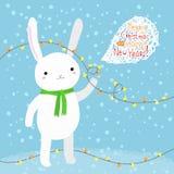 Coniglio bianco sveglio Fotografia Stock Libera da Diritti