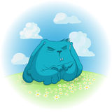 Coniglio blu che meditate sul prato con la camomilla; illustrazione di stock