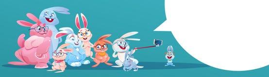 Coniglio che richiede festa Bunny Group Greeting Card di Pasqua della foto di Selfie Fotografie Stock Libere da Diritti
