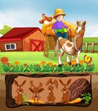 Coniglio che vive nell'azienda agricola sotterranea illustrazione vettoriale