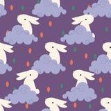 Coniglio cinese nel modello delle nuvole per il metà di festival cinese di autunno illustrazione vettoriale