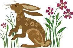 Coniglio con il modello di fiore Immagini Stock Libere da Diritti