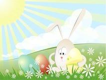 Coniglio con le uova di Pasqua Fotografia Stock