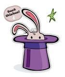 Coniglio/coniglietto parzialmente nascosto in un cappello illustrazione di stock