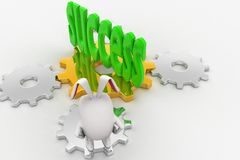 coniglio 3d che esamina il testo di successo nel verde sul concetto della ruota del dente Immagine Stock