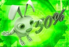 coniglio 3d che sta accanto all'illustrazione del testo di 50% Immagine Stock Libera da Diritti