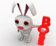 coniglio 3d con il concetto verticale rosso del testo del capo Immagini Stock Libere da Diritti