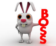 coniglio 3d con il concetto verticale rosso del testo del capo Immagine Stock