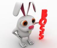 coniglio 3d con il concetto verticale rosso del testo del capo Fotografia Stock