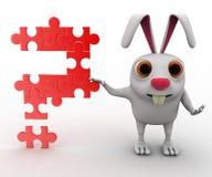 coniglio 3d con il punto interrogativo del concetto del puzzle Fotografia Stock