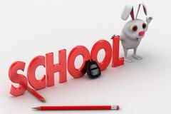 coniglio 3d con il testo di scuola ed il concetto delle matite e della borsa Immagini Stock Libere da Diritti
