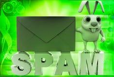 coniglio 3d con l'illustrazione della lettera dello Spam Immagine Stock Libera da Diritti