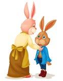 Coniglio del figlio e della madre Immagine Stock