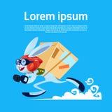 Coniglio del fumetto che esegue l'insegna di Carry Boxes Fast Delivery Service con lo spazio della copia Fotografia Stock