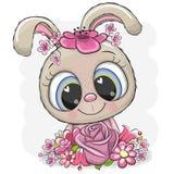 Coniglio del fumetto con flowerson un fondo bianco illustrazione vettoriale