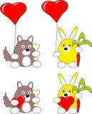 Coniglio del fumetto e giocattolo del cane di cucciolo e cuore rosso fotografie stock libere da diritti