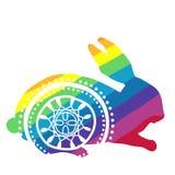 Coniglio dell'arcobaleno con l'ornamento Fotografia Stock Libera da Diritti
