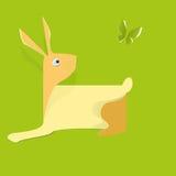 Coniglio della carta su fondo verde L'idea per l'autoadesivo illustrazione vettoriale