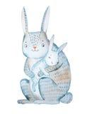 Coniglio della madre del fumetto che giudica suo addormentar con la ninna-nannae del bambino disegnato a mano con l'acquerello is Fotografia Stock