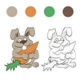 Coniglio di coloritura con la carota per i bambini Fotografie Stock Libere da Diritti