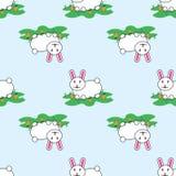 Coniglio di coniglietto adorabile sveglio del fumetto e modello senza cuciture di vettore divertente delle carote royalty illustrazione gratis