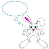 Coniglio di coniglietto bianco sveglio con la bolla di pensiero Fotografie Stock Libere da Diritti