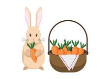Coniglio di coniglietto con il canestro pieno delle carote illustrazione vettoriale