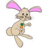 Coniglio di coniglietto felice marrone sveglio del fumetto che tiene un Ca Immagine Stock Libera da Diritti