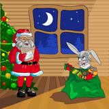 Coniglio di natale e del Babbo Natale Immagine Stock