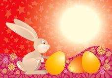 Coniglio di Pasqua nel colore rosso Fotografia Stock