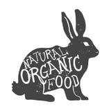 Coniglio disegnato a mano dell'animale da allevamento Iscrizione naturale dell'alimento biologico Vettore Immagine Stock