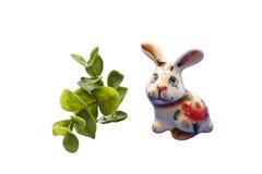 Coniglio divertente con i fogli Fotografia Stock