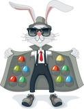 Coniglio divertente con il fumetto di vettore delle uova di Pasqua del contrabbando Immagini Stock