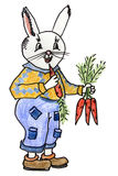 Coniglio divertente con le carote Fotografia Stock Libera da Diritti