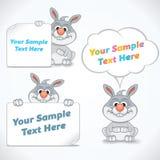 Coniglio divertente del fumetto con le insegne Immagine Stock Libera da Diritti