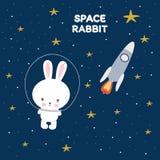 Coniglio divertente sveglio nello spazio Cartolina d'auguri illustrazione di stock