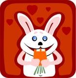 Coniglio e carota Fotografie Stock