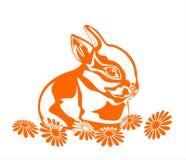 Coniglio e fiori Fotografia Stock