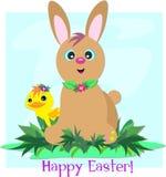 Coniglio ed anatra di coniglietto felici di pasqua Immagini Stock Libere da Diritti