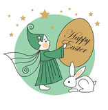 Coniglio, elfo, uovo di Pasqua Fotografia Stock Libera da Diritti