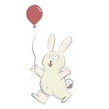 Coniglio felice sveglio che gioca con il pallone dell'elio. Illustrazione di Stock