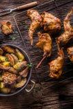 Coniglio Fette arrostite del coniglio con le spezie americane sale dell'aglio delle patate, il cumino del pepe e la birra alla sp Fotografia Stock Libera da Diritti