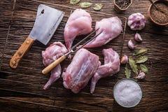 Coniglio Fette crude del coniglio con l'utensile, la forcella ed il macellaio della cucina dell'aglio delle spezie Cucina di cacc Fotografia Stock
