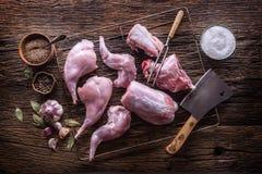 Coniglio Fette crude del coniglio con l'utensile, la forcella ed il macellaio della cucina dell'aglio delle spezie Cucina di cacc Fotografia Stock Libera da Diritti