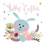 Coniglio, fiori ed uova di Pasqua illustrazione di stock