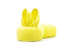 Coniglio giallo dell'asciugamano Fotografie Stock