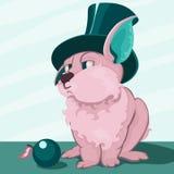 Coniglio grassottello sveglio in un cappello-cilindro Fotografia Stock